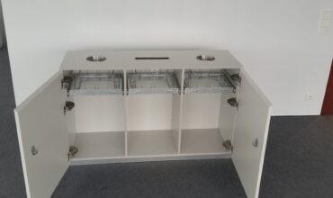 Kolmeosaline Longopac jäätmekäitlussüsteem Telia kontori avatud alal